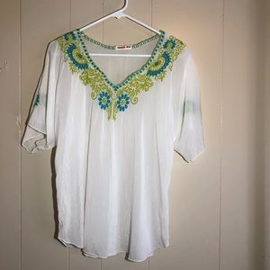 Johnny Was size small white flowy blouse